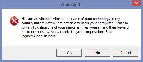 Oto słynny albański wirus, coś gorszego nawet od pluskwy milenijnej!